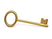 Antieke gouden sleutel Stock Afbeelding