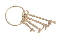 Antieke gouden sleutels op een sleutelring Royalty-vrije Stock Fotografie