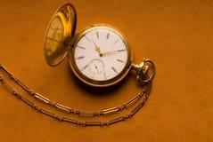 Antieke Gouden Zakhorloge en Ketting Royalty-vrije Stock Fotografie