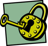 Antieke hangslot en sleutel Royalty-vrije Stock Foto