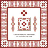 Antieke het patroonset_180 Rode Ronde Dwarsbloem van het tegelkader Stock Foto's