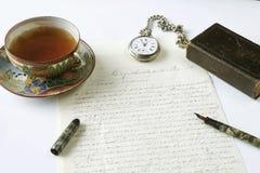 Antieke het schrijven scène Royalty-vrije Stock Afbeeldingen