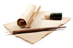 Antieke het schrijven werktuigen Stock Foto