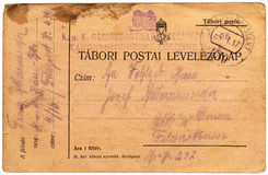 Antieke Hongaarse prentbriefkaar Stock Afbeelding