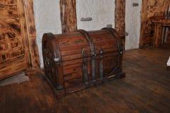 Antieke houten borst houten achtergrond Royalty-vrije Stock Foto's