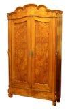 Antieke houten die garderobe op wit wordt geïsoleerd royalty-vrije stock foto