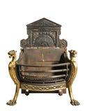 Antieke ijzer en messingsopen haardrooster, oude uitstekende antieke ISO Royalty-vrije Stock Afbeelding