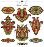 Antieke Indische Geplaatste Ontwerpelementen Stock Foto