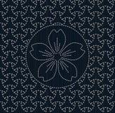 Antieke Japanse fancywork Sashiko met sakurabloem Royalty-vrije Stock Afbeelding