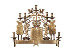Antieke Joodse menorah royalty-vrije stock fotografie