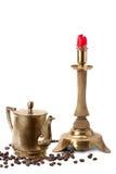 Antieke kaarshouder, koffiepot Stock Afbeelding