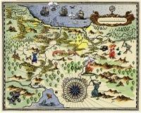 Antieke kaart Stock Afbeelding