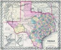 antieke kaart 1855 van Texas Royalty-vrije Stock Afbeelding