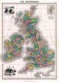 Antieke Kaart 1870 van Groot-Brittannië en Ierland Stock Fotografie