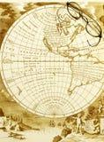 Antieke kaart met oude bril Stock Foto