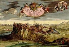 Antieke kaart van bergvesting. Stock Afbeeldingen