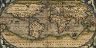 Antieke Kaart van de Wereld Stock Afbeeldingen