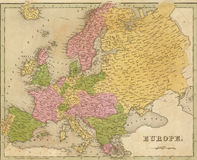 Antieke kaart van Europa stock illustratie