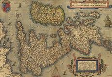 Antieke Kaart van Groot-Brittannië, Stock Foto's