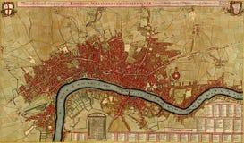 Antieke kaart van Londen, asnd Westminster Southwark, Royalty-vrije Stock Foto