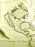 Antieke kaart van Noord-Amerika Stock Foto