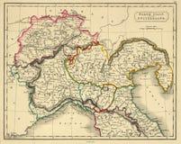 Antieke Kaart van Noordelijk Italië Stock Afbeelding