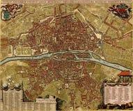 Antieke kaart van Parijs Stock Afbeeldingen
