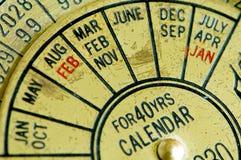 Antieke kalender 2 Stock Afbeeldingen