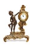 Antieke klok met beeldje van vrouwen royalty-vrije stock foto