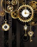 Antieke Klok met Gouden Sleutels stock illustratie