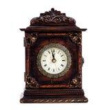 Antieke klok ongeveer om middernacht of middag te raken Royalty-vrije Stock Foto's