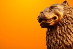 Antieke leeuwstandbeelden Stock Foto
