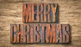 Antieke letterzetsel houten type drukblokken - Vrolijke Kerstmis royalty-vrije stock foto