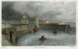 Antieke Littlehampton, Havenscène het UK 1850 Royalty-vrije Stock Foto's