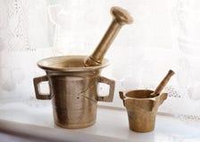 Antieke mortier en stampers Stock Fotografie