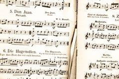 Antieke muziekscore royalty-vrije stock afbeelding