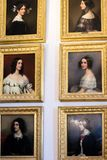 Antieke olieverfschilderijportretten van jonge dames Royalty-vrije Stock Afbeeldingen