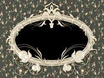 Antieke omlijsting op het uitstekende behang Royalty-vrije Stock Fotografie