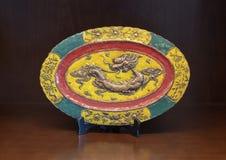 Antieke oosterse plaat, Tint, Vietnam stock afbeelding
