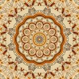 Antieke oude gouden het patroon abstracte achtergrond van de klokcaleidoscoop Het abstracte surreal geklets van het de caleidosco royalty-vrije illustratie