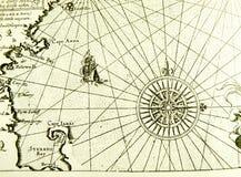 Antieke overzeese kaart of grafiek Stock Afbeeldingen