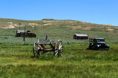 Antieke paardkar, vrachtwagen, de spookstad van het Lichaam Royalty-vrije Stock Afbeeldingen
