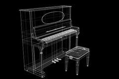 Antieke Piano met weg Royalty-vrije Stock Afbeeldingen
