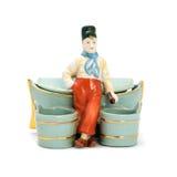 Antieke porseleindozen voor schoonheidsmiddelen met beeldjes Royalty-vrije Stock Afbeelding