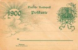 Antieke prentbriefkaar met zegel en datum 1900 Stock Afbeelding