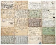 Antieke Prentbriefkaaren oude met de hand geschreven niet gedefiniëerde teksten E Stock Foto's