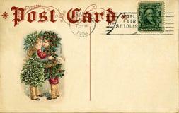 Antieke prentbriefkaarKerstmis Royalty-vrije Stock Afbeeldingen