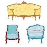 Antieke rococo meubilairstickers Royalty-vrije Stock Foto