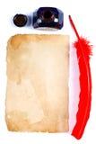 Antieke rode pen en inktpot Stock Foto's