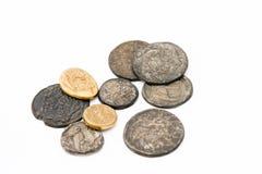 Antieke roman muntstukken Stock Foto's
